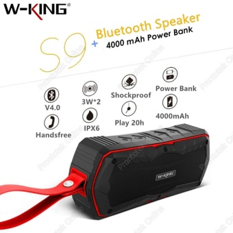 W-KING S9 IPX6 Waterproof Shockproof Bluetooth Wireless Speaker Powerbank (Red)