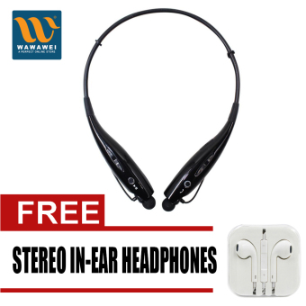 Wawawei HBS-730 Sports Wireless Bluetooth Stereo Headphone foriPhone/Android (Black) with free Stereo In-Ear Headphone (White)