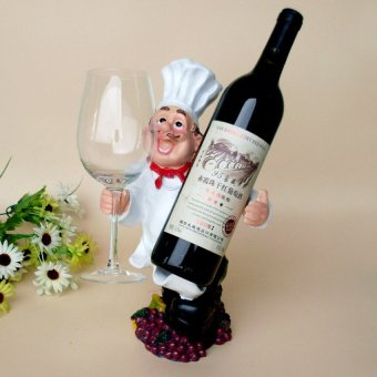 1 PCS Hot Sale Resin Home Decoration Crafts Chef Wine Rack Figurine Miniature Wine Holder - intl