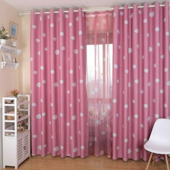 100x250cm Cloud Pattern Window Blockout Curtain Panel Eyelet Drape Pink - Intl