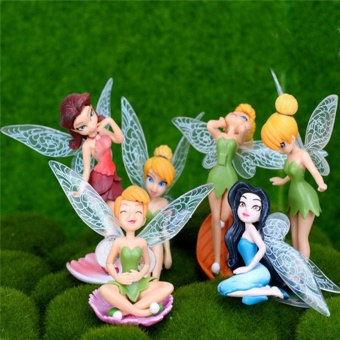 12Pcs (Set of 2) Flower Pixie Fairy Miniature Figurine Dollhouse Micro Landscape Garden Home Coffee Bar Decoration Mini Ornament Crafts Toys - intl