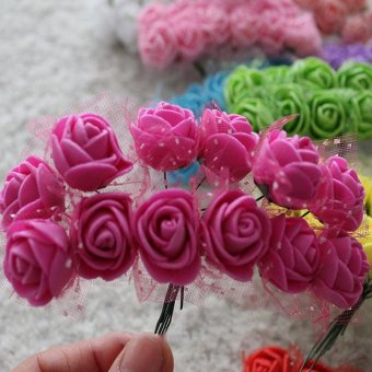 144 Pcs Mini Artificial Foam Rose Flower color:Rose Red - intl