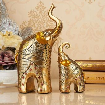 2 Pcs/set Resin Mother and Baby Elephant Statue Figurines HandmadeElegant Elephant Ornament Crafts Wedding Gift Home OfficeDecoration - intl