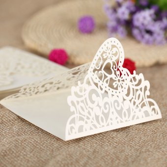 20Pcs Romantic Wedding Party Invitation Card Delicate Carved HeartPattern Decoration - Intl