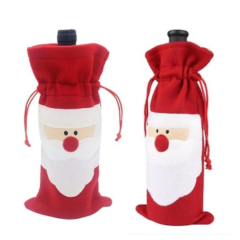 2pcs Santa Claus Bottle Cover Christmas Decoration SuppliesChristmas Decorations Festival Party Ornament - intl