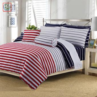 3 Pieces Fitted Sheet Beddings Cordovan Queen Size Bedsheet Set byCanadian (Red/White/Black)