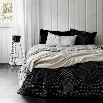 3 Pieces Fitted Sheet Queen Size Cloud Noise Bedsheet Set byCanadian (Black/White)
