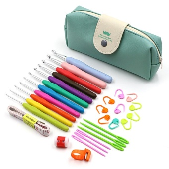 30pcs Crochet Hooks Kit Yarn Knitting Needles Sewing Tool Ergonomic Grip Bag Set - intl
