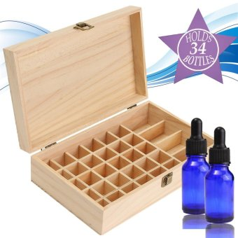 34 Slots Wooden Essential Oil Storage Box Carrying Case Buckle Home Container - intl