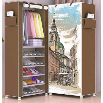 3D Single Fashion Wardrobe Closet with Shoe Rack (City Brown)