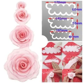 3pcs Set 3D Rose Petal Flower Cutter Fondant Cake SugarcraftDecorating Mould
