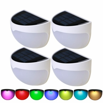 4 Packs Solar Garden Lights, RGB Fence Post Lamps OutdoorWaterproof Wall Mounted for Back Yard Patio Path Stairway PathwayDriveways Stairway Deck (Colorful Solar Lights, NO White Light) -intl