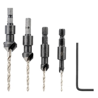 4 Pcs/set Countersink Drill Bit Set with Quick Change Hex Shank High Speed Steel Carbon Steel Counter Bore Woodworking Tool - intl