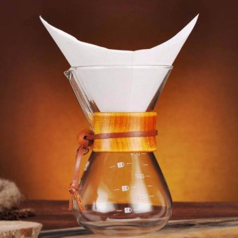 400ml Glass Coffee Pot Pour Over Manual Hand Drip Coffee Maker-Carafe Coffeemaker Pot with Stainless Steel Permanent Filter -intl