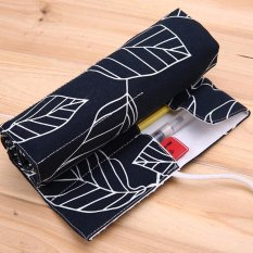 48 Holes Canvas Wrap Roll Up Pencil Case Pen Brush Bag Holder Storage Leaves Black -