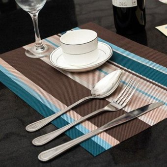 4Pcs PVC Place Mats Heat Insulation PVC Placemats Stain-resistantWoven Vinyl Table Mats for Kitchen 30x45cm - intl
