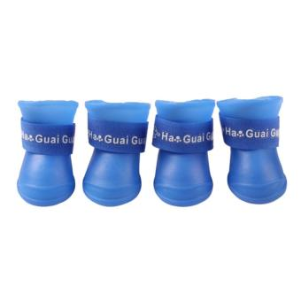 4x Pet Dog Waterproof Boots Rubber Rain Shoes color:Blue size:S -intl