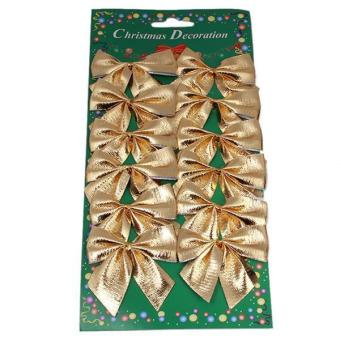 Ai Home Christmas Tree Bow Decoration XMAS Ornament Gold