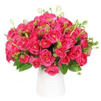 Aukey Heads Rose Silk Flower Set of 10 (Rose) - picture 2