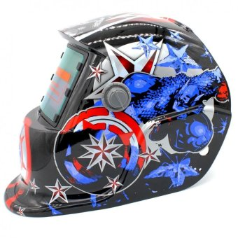 Auto Darkening Welding Helmet ARC TIG MIG Mask for Welding GrindingStars and Stripes (Red/Blue)