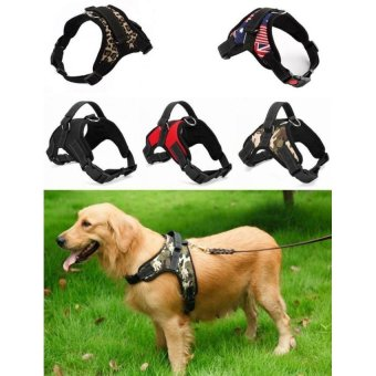 Big Dog Soft Harness Adjustable Pet Dog Big Exit Harness VestCollar Strap for Small and Large Dogs Pitbulls - Black(M) - intl