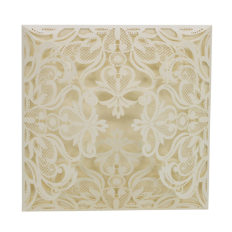 BolehDeals 20Pcs Square Elegant Laser Cut Lace Wedding Party Invitation Cards White - intl