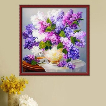 Candy Online Lavender Vase Diy 5D Diamond Painting Cross StitchFull Drill Rhinestone Painting Decor #9416