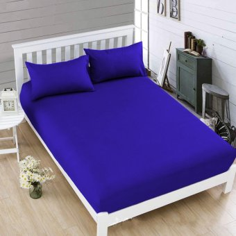 Celebrity Violet Blue Plain Bedsheet Queen Size Fitted Sheet Cover Linen Collection Bedding Set with Pillowcase