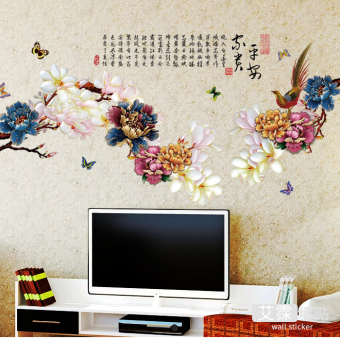 Chinese-style living room bedroom TV sofa backdrop stickers flowers and birds