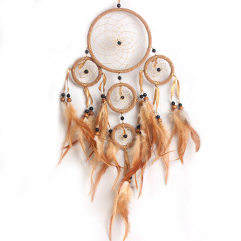 Dream Catcher with feathers wall hanging decoration ornament-coffee