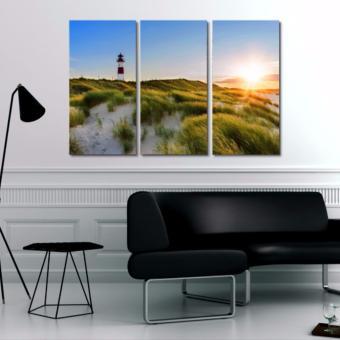 Easy Art Triptych 3-piece Lighthouse Sunset Premium Canvas Art