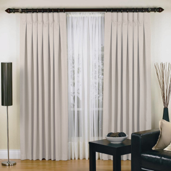Elysian Luxury Urban Pinch Pleat Curtains Two Panel Jacquard Blockout Fabric (Sand)