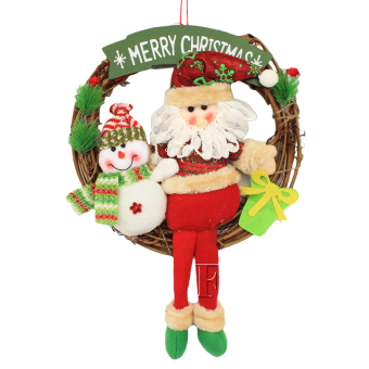 EOZY Santa Claus Christmas Wreath Christmas Circle Wreath For HomeXmas Tree Decoration