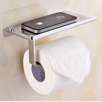 Fengsheng Wall Mount Toilet Paper Holder Stainless Steel SUS304Steel Bathroom Tissue Holder with Mobile Phone Storage Shelf Silver- intl