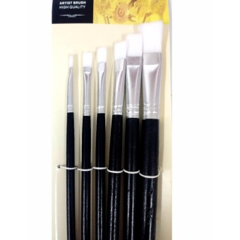 Fine Artist brush 6pcs Flat Painting Brush Wooden Pen Handle forOil, Acrylic, and Watercolor
