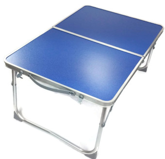 Folding in Half Laptop Computer Table Breakfast in Bed or Office Desk Standing Work Table, Kiddie Table (Blue)