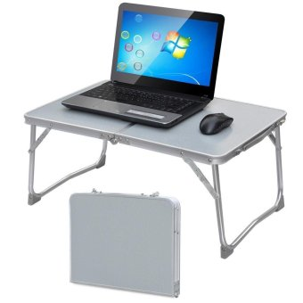 Folding in Half Laptop Computer Table Breakfast in Bed or Office Desk Standing Work Table, Kiddie Table (Grey)