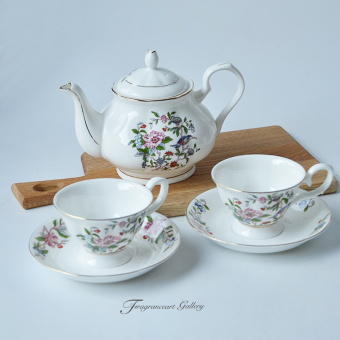 Fragrance bone china flowers and birds series PARK'S cup and saucer