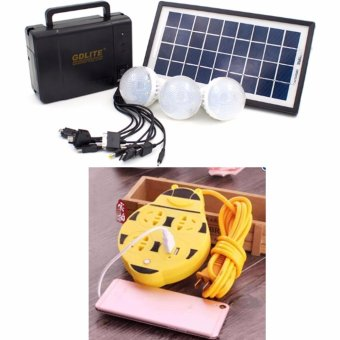 GDlite GD-8006-A Solar Lighting System (Black) With Extension Wire Cord with USB Socket 180CM Length (Yellow)