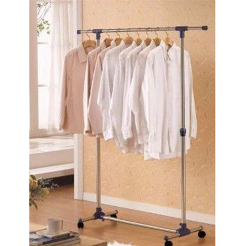 Adjustable Double Rail Garment Rack With Shoes Shelf On