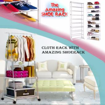 Gonzalez Multipurpose Durable Cloth Rack (White) with AmazingShoerack