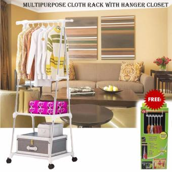 Gonzalez Multipurpose Durable Cloth Rack (White) with free HangerTriples Closet Space (8packet/Set)