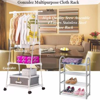 Gonzalez Multipurpose Durable Cloth Rack (White) with High QualitySrew Assemble 4 Layers Stainless Steel Stackable Shoe Rack