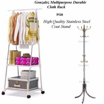 Gonzalez Multipurpose Durable Cloth Rack (White) with StainlessSteel Hat/Coat/Clothes Stand Rack (Silver/Gold)