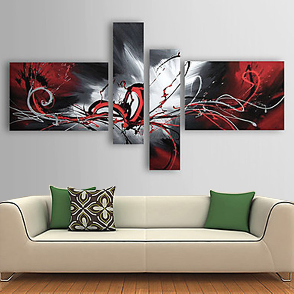 Modern Living Room Paintings Hand Painted Oil Painting Set Flowing Lines Modern Abstract