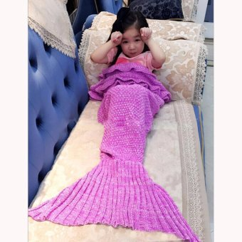 Hanyu Mermaid Tail Blanket Crochet Mermaid Blanket for Baby Infant Kids Sofa Quilt Living Room Bedroom Camping Warm Soft All Seasons Seatail Sleeping Bag Blanket Sleeping Throws 90 * 50cm (Pink Purple) - intl