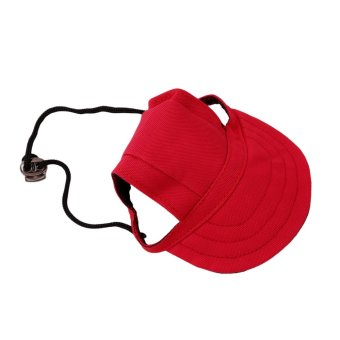 Hanyu Pet Baseball Cap Pet Dog Canvas Hat with Ear Holes OutdoorHat Accessories M(Red) - intl