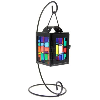 Home Office Table Desk Decorative Hanging Colorful Iron Glass Lantern Candle Holder Candlestick (Black)