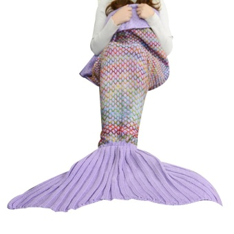 Hot Sale All Seasons Mermaid Tail Blanket Knit Crochet grid forAdult Teens Living Room Bedroom Sofa Super Soft Warm FashionBlankets Sleeping Bags and Camping Bag 70.86 * 35.43in Light Purple- intl
