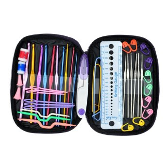Ichic 22pcs Crochet Hooks Yarn Knitting Needles Set Kit withAccessories +Case - intl